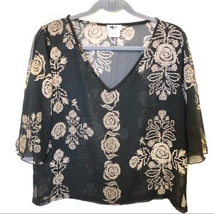 Vintage Mamo Howell Sheer Top Black Roses Size 14